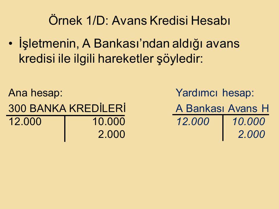 Örnek 1/D: Avans Kredisi Hesabı İşletmenin, A Bankası'ndan aldığı avans kredisi ile ilgili hareketler şöyledir: Ana hesap:Yardımcı hesap: 300 BANKA KREDİLERİA Bankası Avans H 12.00010.00012.00010.000 2.000 2.000