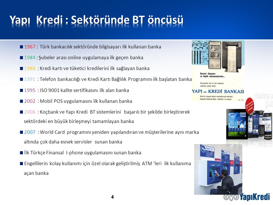 4  1967 : Türk bankacılık sektöründe bilgisayarı ilk kullanan banka  1984 : Şubeler arası online uygulamaya ilk geçen banka  1988 : Kredi kartı ve