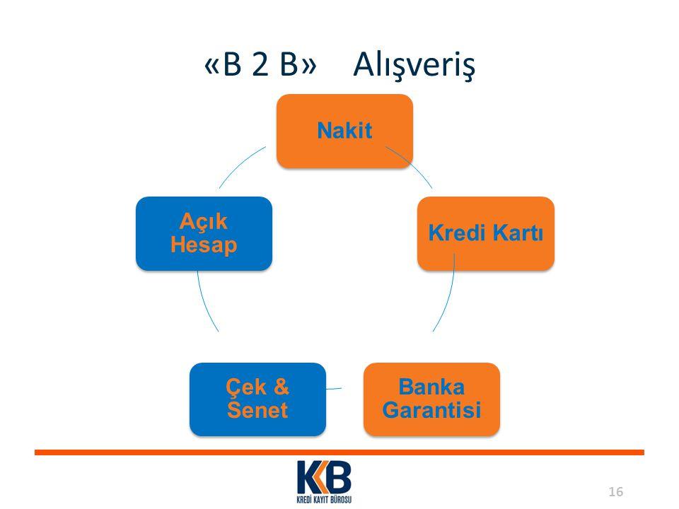 16 «B 2 B» Alışveriş NakitKredi Kartı Banka Garantisi Çek & Senet Açık Hesap
