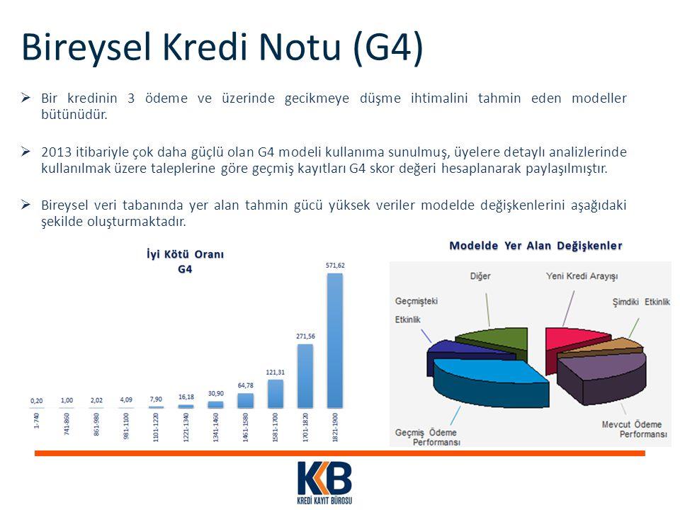 Bireysel Kredi Notu (G4)  Bir kredinin 3 ödeme ve üzerinde gecikmeye düşme ihtimalini tahmin eden modeller bütünüdür.  2013 itibariyle çok daha güçl