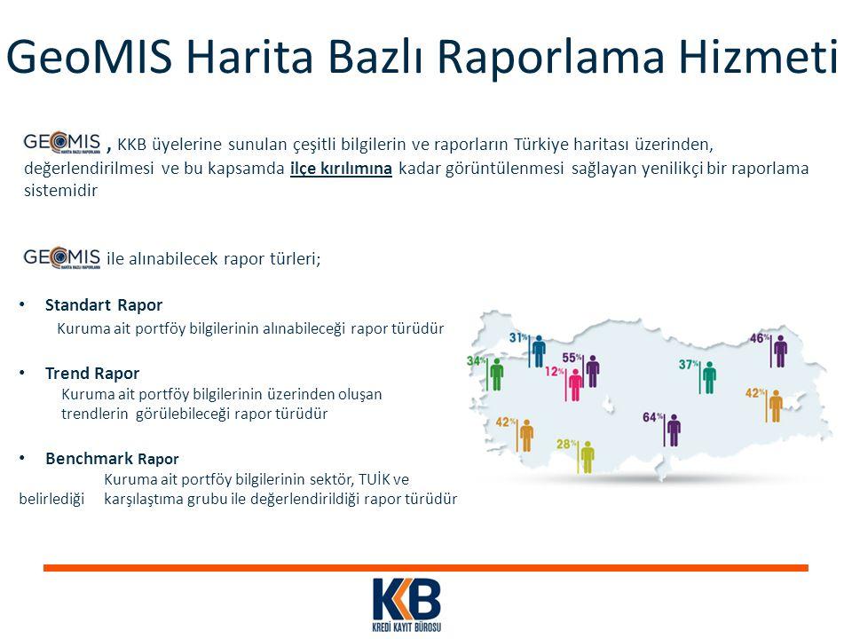 , KKB üyelerine sunulan çeşitli bilgilerin ve raporların Türkiye haritası üzerinden, değerlendirilmesi ve bu kapsamda ilçe kırılımına kadar görüntülen