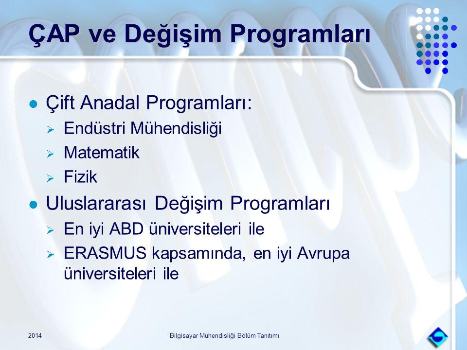 2014Bilgisayar Mühendisliği Bölüm Tanıtımı ÇAP ve Değişim Programları Çift Anadal Programları:  Endüstri Mühendisliği  Matematik  Fizik Uluslararas