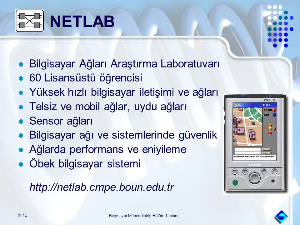 2014Bilgisayar Mühendisliği Bölüm Tanıtımı NETLAB NETLAB Bilgisayar Ağları Araştırma Laboratuvarı 60 Lisansüstü öğrencisi Yüksek hızlı bilgisayar ilet