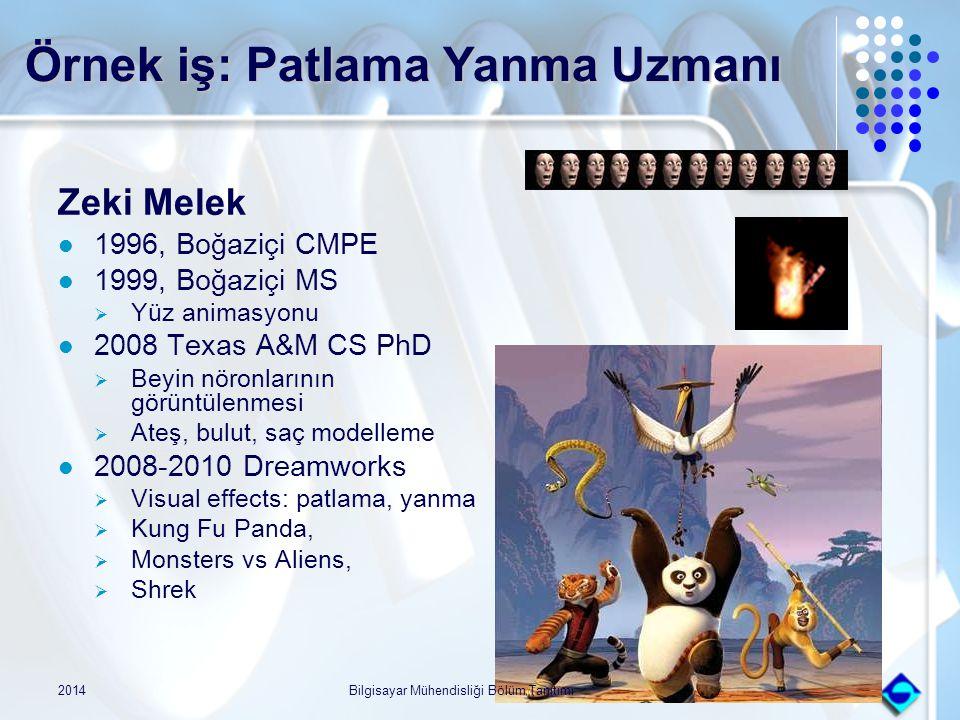 Örnek iş: Patlama Yanma Uzmanı Zeki Melek 1996, Boğaziçi CMPE 1999, Boğaziçi MS  Yüz animasyonu 2008 Texas A&M CS PhD  Beyin nöronlarının görüntülen