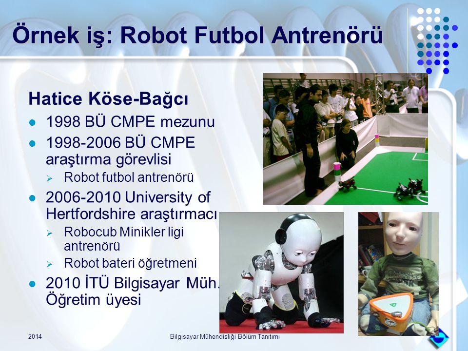 Örnek iş: Robot Futbol Antrenörü Hatice Köse-Bağcı 1998 BÜ CMPE mezunu 1998-2006 BÜ CMPE araştırma görevlisi  Robot futbol antrenörü 2006-2010 Univer