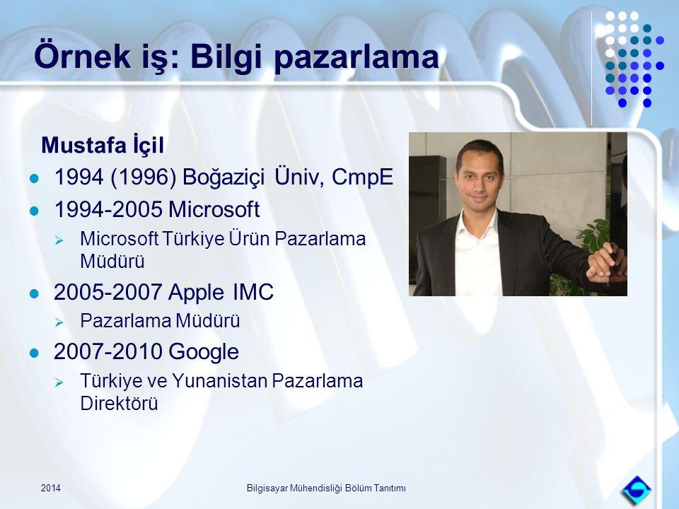 Örnek iş: Bilgi pazarlama Mustafa İçil 1994 (1996) Boğaziçi Üniv, CmpE 1994-2005 Microsoft  Microsoft Türkiye Ürün Pazarlama Müdürü 2005-2007 Apple I