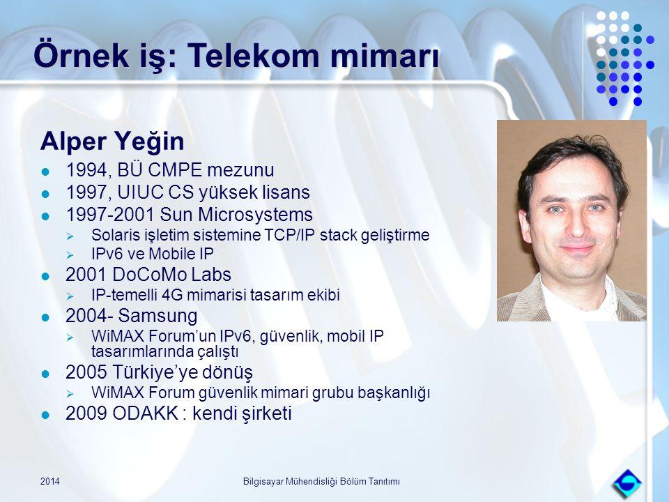 Örnek iş: Telekom mimarı Alper Yeğin 1994, BÜ CMPE mezunu 1997, UIUC CS yüksek lisans 1997-2001 Sun Microsystems  Solaris işletim sistemine TCP/IP st