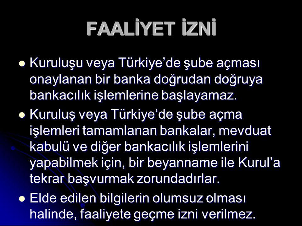 Kuruluşu veya Türkiye'de şube açması onaylanan bir banka doğrudan doğruya bankacılık işlemlerine başlayamaz. Kuruluşu veya Türkiye'de şube açması onay