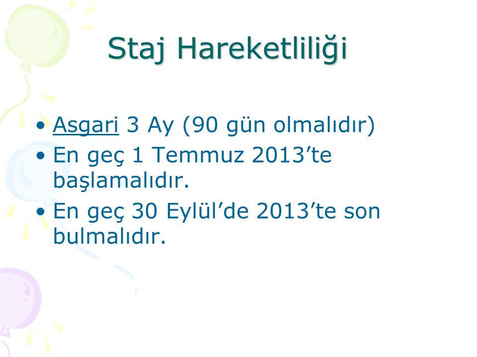 Staj Hareketliliği Asgari 3 Ay (90 gün olmalıdır) En geç 1 Temmuz 2013'te başlamalıdır. En geç 30 Eylül'de 2013'te son bulmalıdır.