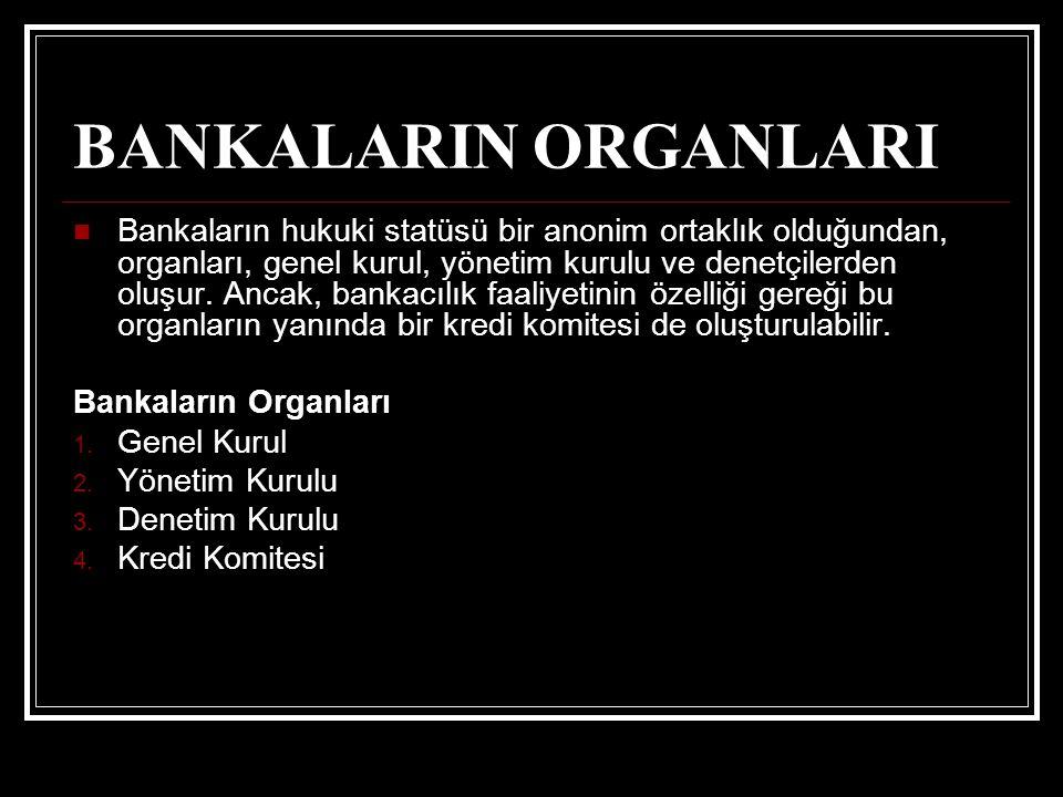 BANKALARIN ORGANLARI Bankaların hukuki statüsü bir anonim ortaklık olduğundan, organları, genel kurul, yönetim kurulu ve denetçilerden oluşur. Ancak,