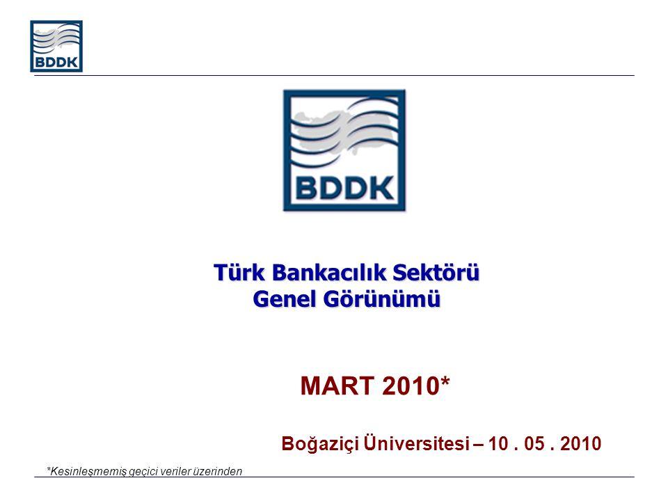 Türk Bankacılık Sektörü Genel Görünümü MART 2010* Boğaziçi Üniversitesi – 10. 05. 2010 *Kesinleşmemiş geçici veriler üzerinden