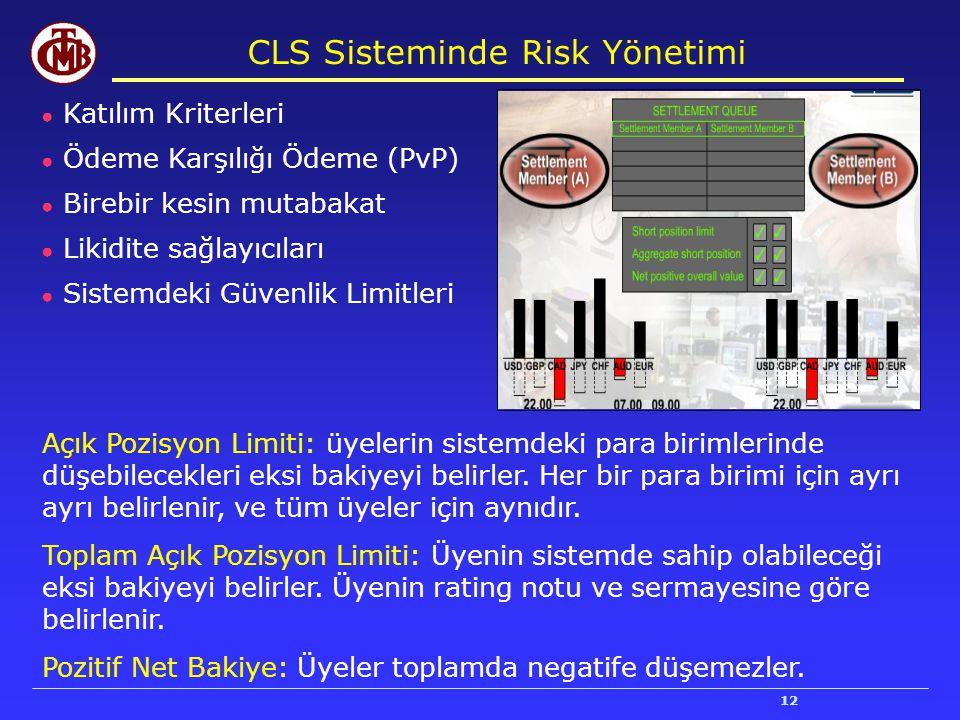 12 CLS Sisteminde Risk Yönetimi ● Katılım Kriterleri ● Ödeme Karşılığı Ödeme (PvP) ● Birebir kesin mutabakat ● Likidite sağlayıcıları ● Sistemdeki Güv
