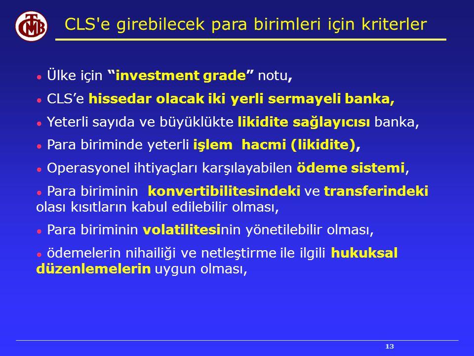 """13 ● Ülke için """"investment grade"""" notu, ● CLS'e hissedar olacak iki yerli sermayeli banka, ● Yeterli sayıda ve büyüklükte likidite sağlayıcısı banka,"""