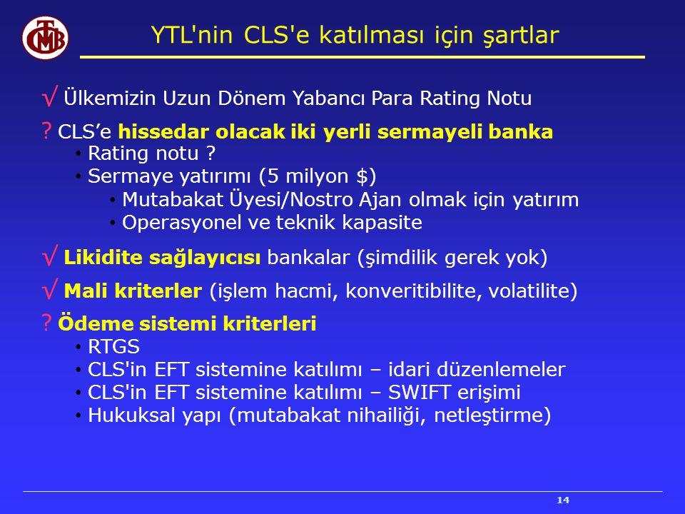 14 YTL'nin CLS'e katılması için şartlar √ Ülkemizin Uzun Dönem Yabancı Para Rating Notu ? CLS'e hissedar olacak iki yerli sermayeli banka Rating notu