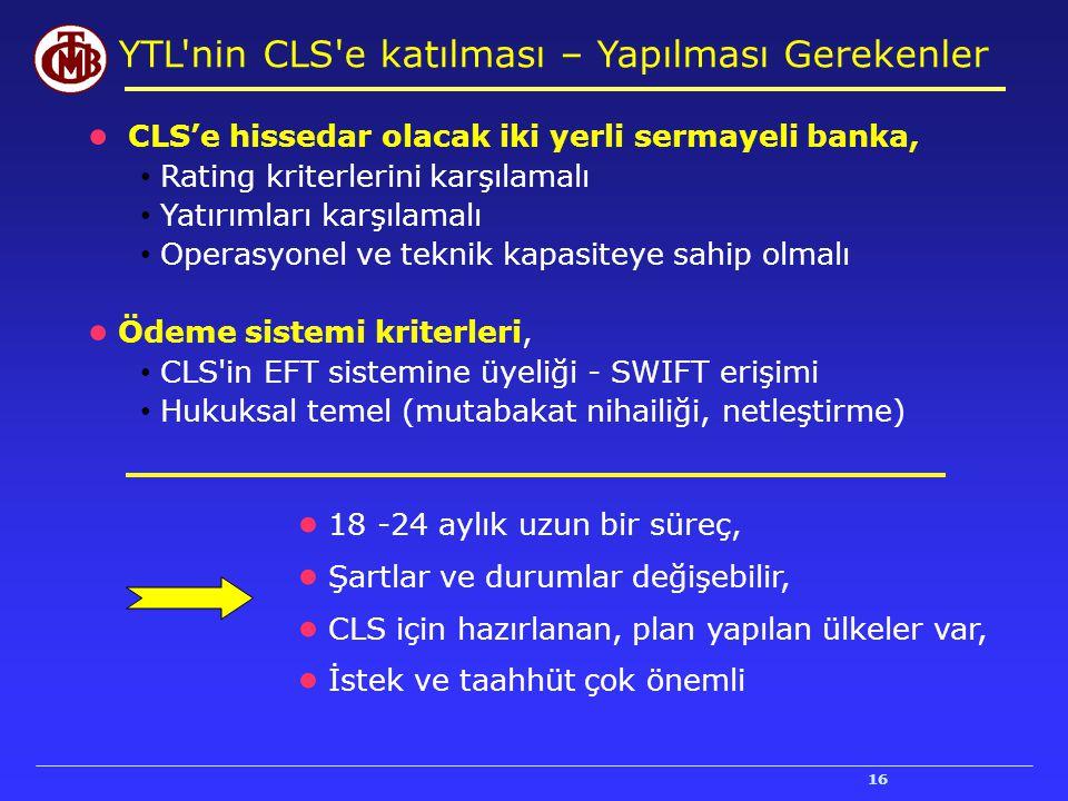 16 YTL'nin CLS'e katılması – Yapılması Gerekenler ● CLS'e hissedar olacak iki yerli sermayeli banka, Rating kriterlerini karşılamalı Yatırımları karşı