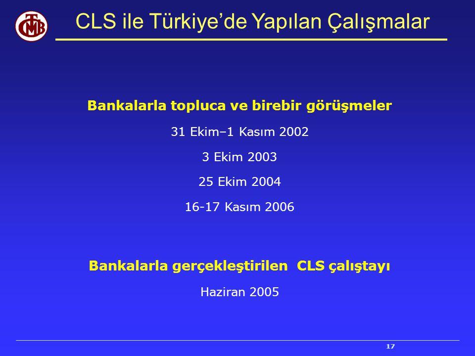 17 CLS ile Türkiye'de Yapılan Çalışmalar Bankalarla topluca ve birebir görüşmeler 31 Ekim–1 Kasım 2002 3 Ekim 2003 25 Ekim 2004 16-17 Kasım 2006 Banka