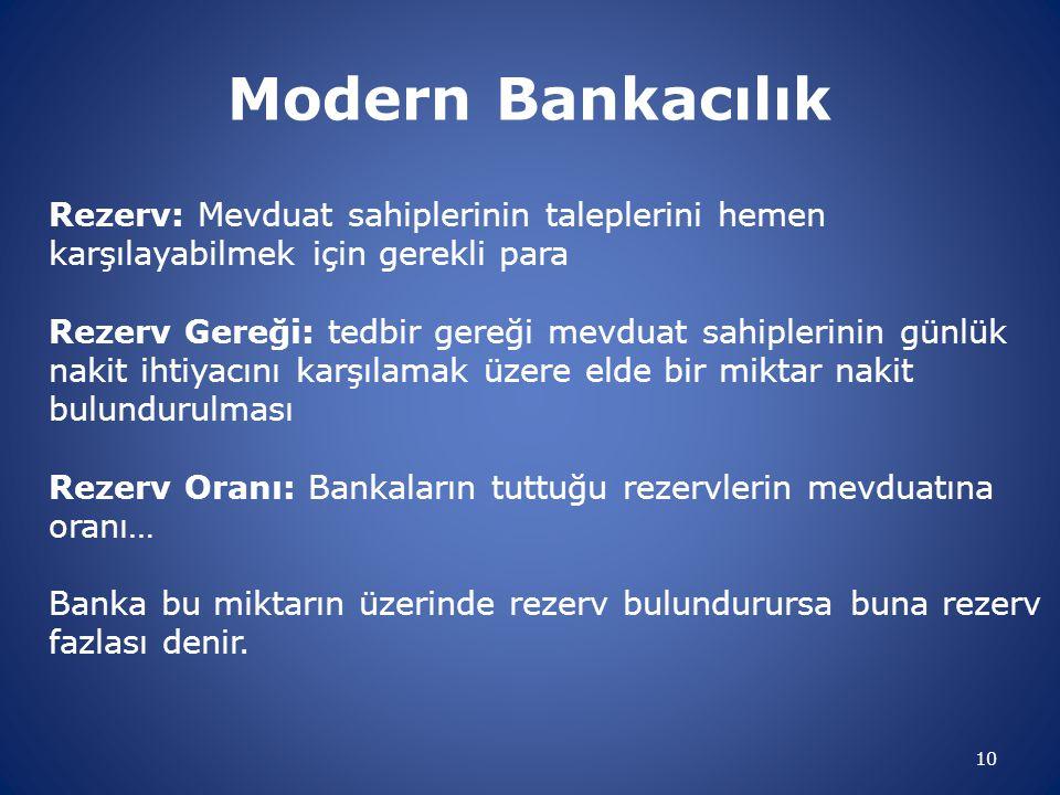 10 Modern Bankacılık Rezerv: Mevduat sahiplerinin taleplerini hemen karşılayabilmek için gerekli para Rezerv Gereği: tedbir gereği mevduat sahiplerini