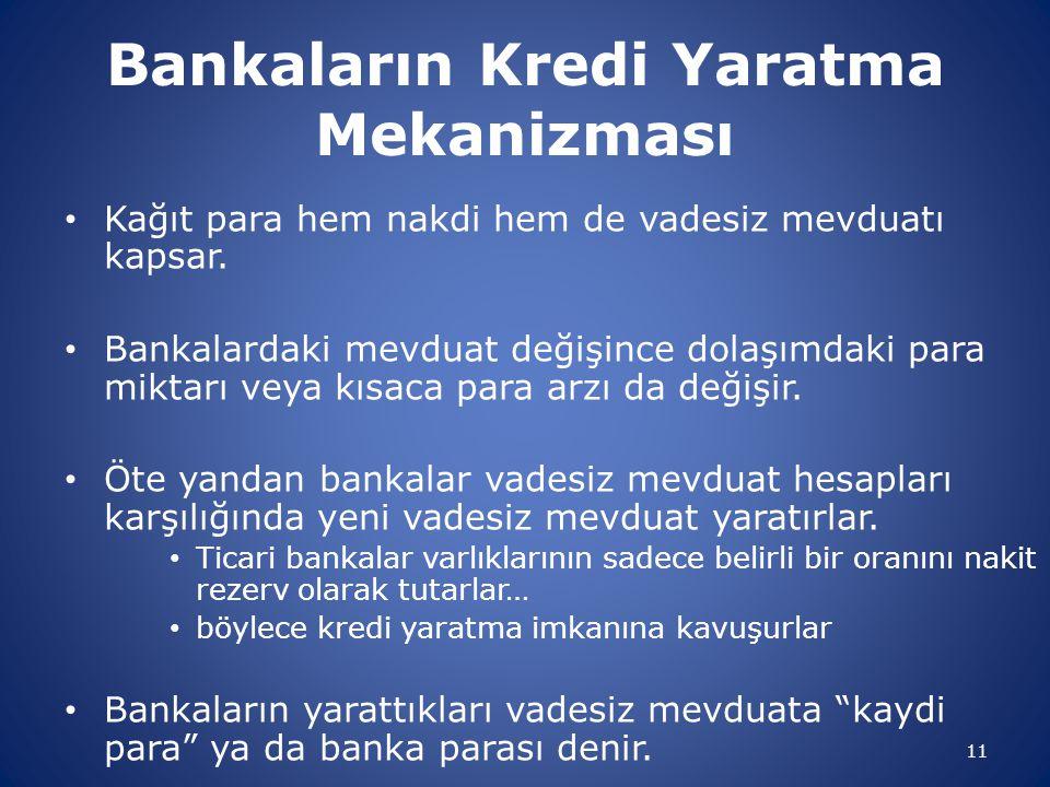11 Bankaların Kredi Yaratma Mekanizması Kağıt para hem nakdi hem de vadesiz mevduatı kapsar. Bankalardaki mevduat değişince dolaşımdaki para miktarı v