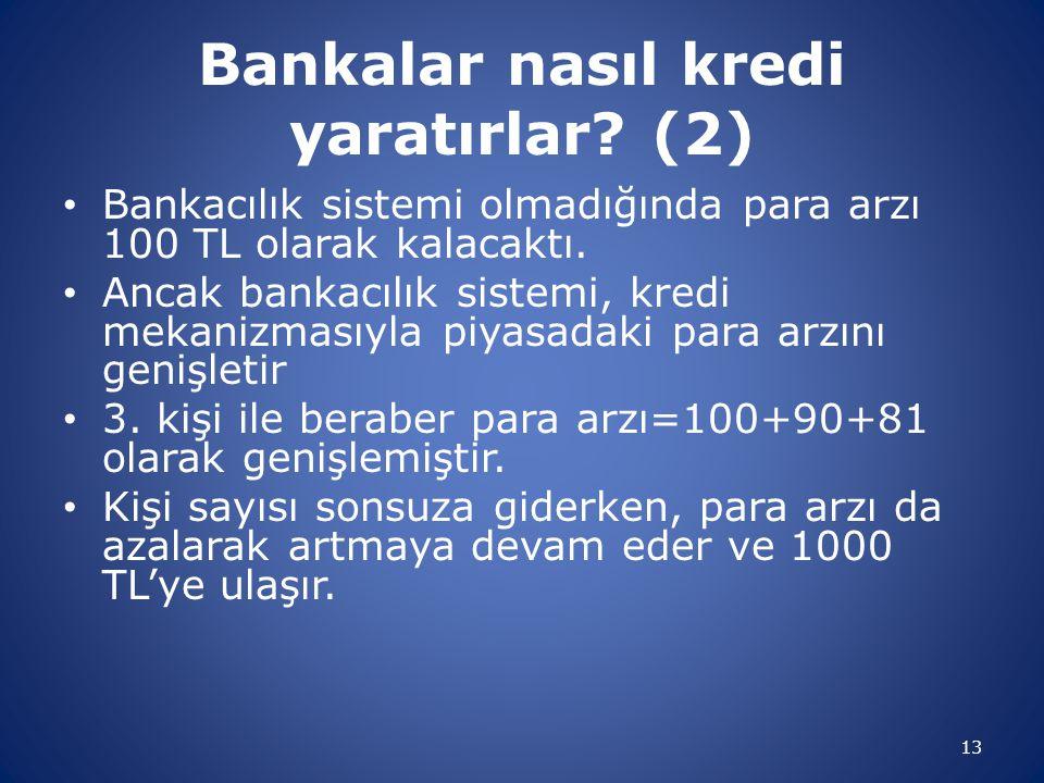 Bankalar nasıl kredi yaratırlar? (2) Bankacılık sistemi olmadığında para arzı 100 TL olarak kalacaktı. Ancak bankacılık sistemi, kredi mekanizmasıyla