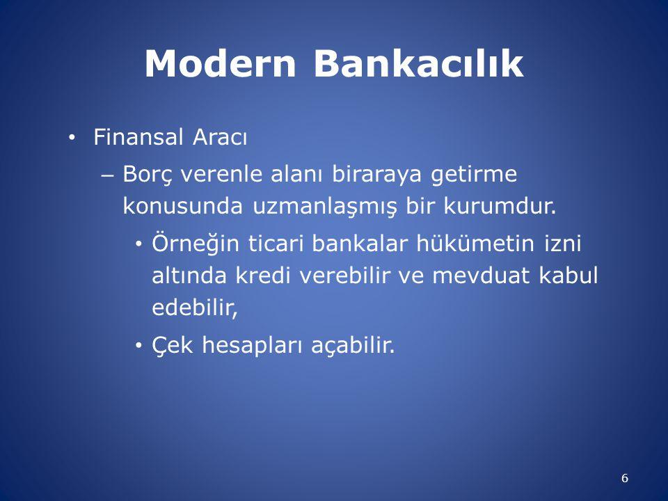 Modern Bankacılık Finansal Aracı – Borç verenle alanı biraraya getirme konusunda uzmanlaşmış bir kurumdur. Örneğin ticari bankalar hükümetin izni altı