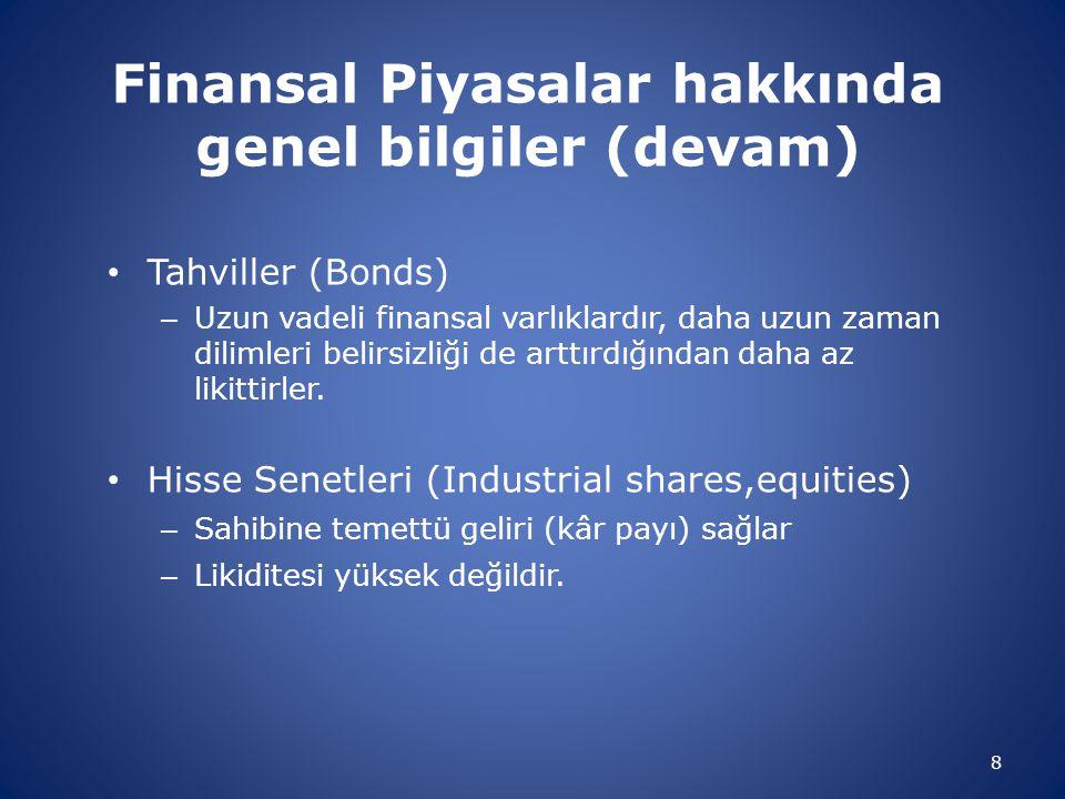 Finansal Piyasalar hakkında genel bilgiler (devam) Tahviller (Bonds) – Uzun vadeli finansal varlıklardır, daha uzun zaman dilimleri belirsizliği de ar