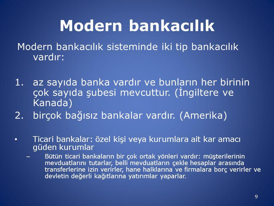 10 Modern Bankacılık Rezerv: Mevduat sahiplerinin taleplerini hemen karşılayabilmek için gerekli para Rezerv Gereği: tedbir gereği mevduat sahiplerinin günlük nakit ihtiyacını karşılamak üzere elde bir miktar nakit bulundurulması Rezerv Oranı: Bankaların tuttuğu rezervlerin mevduatına oranı… Banka bu miktarın üzerinde rezerv bulundurursa buna rezerv fazlası denir.