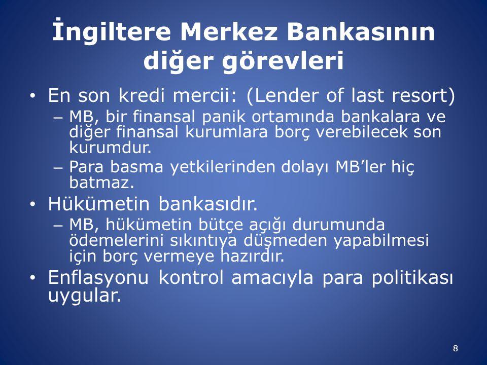 İngiltere Merkez Bankasının diğer görevleri En son kredi mercii: (Lender of last resort) – MB, bir finansal panik ortamında bankalara ve diğer finansa