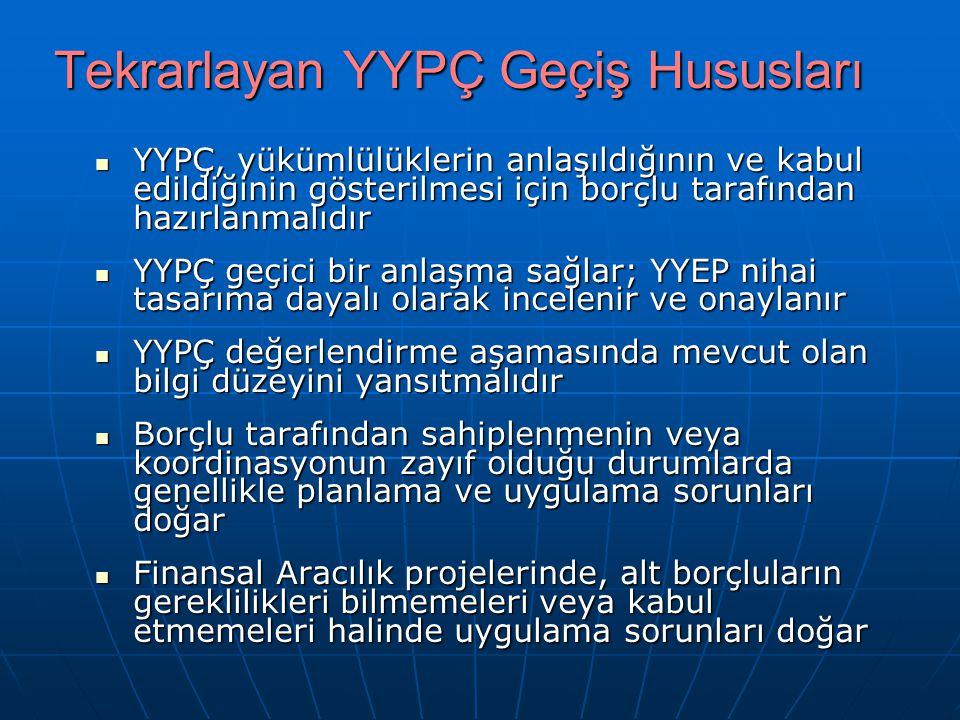 Tekrarlayan YYPÇ Geçiş Hususları YYPÇ, yükümlülüklerin anlaşıldığının ve kabul edildiğinin gösterilmesi için borçlu tarafından hazırlanmalıdır YYPÇ, y
