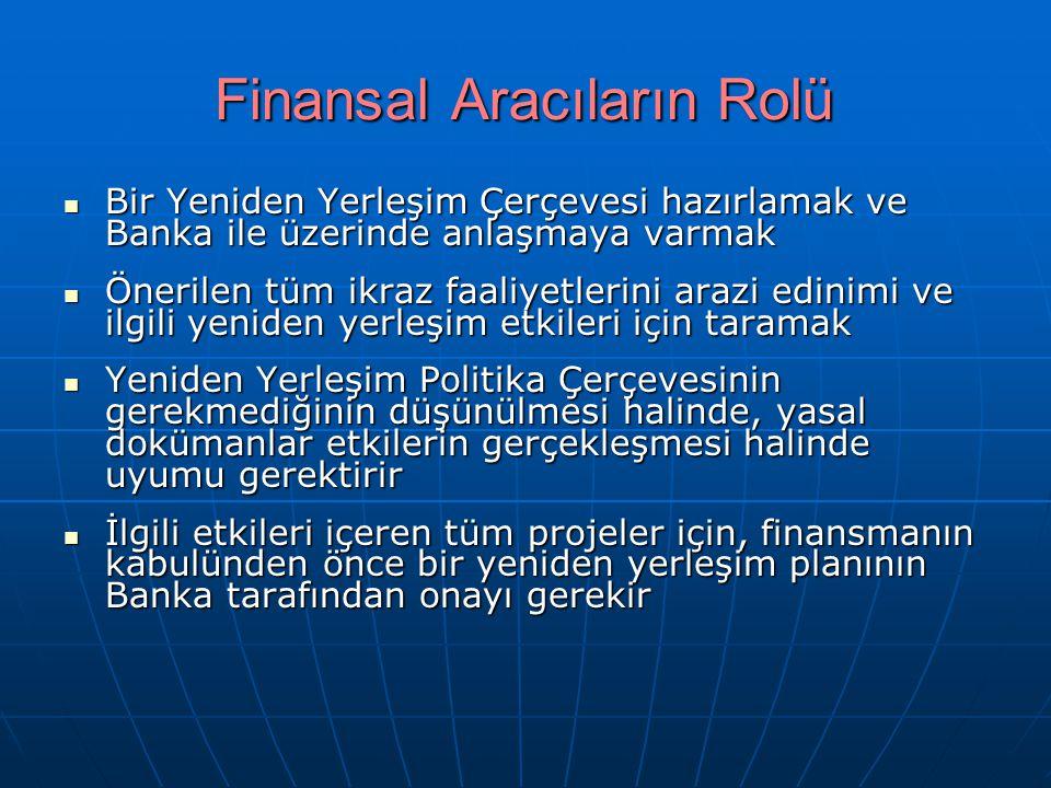 Finansal Aracıların Rolü Bir Yeniden Yerleşim Çerçevesi hazırlamak ve Banka ile üzerinde anlaşmaya varmak Bir Yeniden Yerleşim Çerçevesi hazırlamak ve