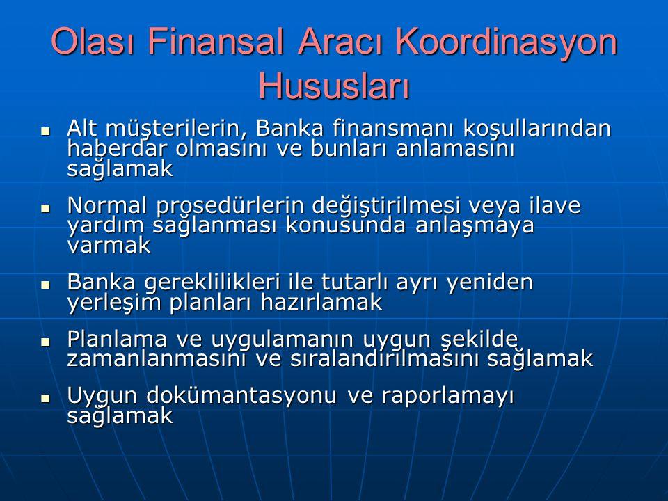 Olası Finansal Aracı Koordinasyon Hususları Alt müşterilerin, Banka finansmanı koşullarından haberdar olmasını ve bunları anlamasını sağlamak Alt müşt