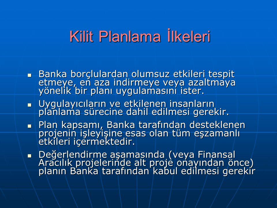Kilit Planlama İlkeleri Banka borçlulardan olumsuz etkileri tespit etmeye, en aza indirmeye veya azaltmaya yönelik bir planı uygulamasını ister. Banka