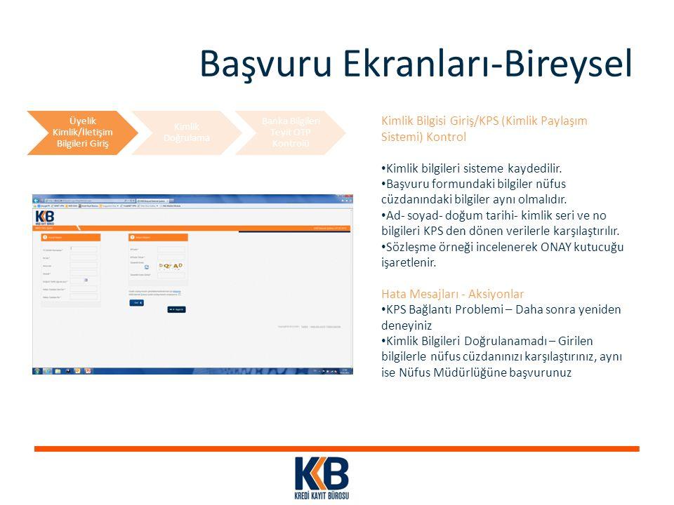 Başvuru Ekranları-Bireysel Kimlik Bilgisi Giriş/KPS (Kimlik Paylaşım Sistemi) Kontrol Kimlik bilgileri sisteme kaydedilir. Başvuru formundaki bilgiler