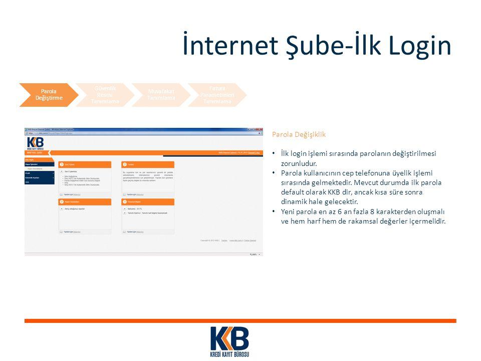 İnternet Şube-İlk Login Parola Değişiklik İlk login işlemi sırasında parolanın değiştirilmesi zorunludur. Parola kullanıcının cep telefonuna üyelik iş
