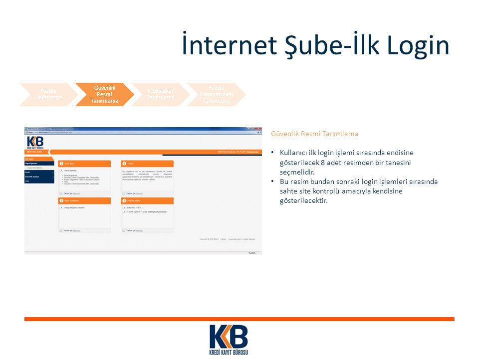 İnternet Şube-İlk Login Güvenlik Resmi Tanımlama Kullanıcı ilk login işlemi sırasında endisine gösterilecek 8 adet resimden bir tanesini seçmelidir. B
