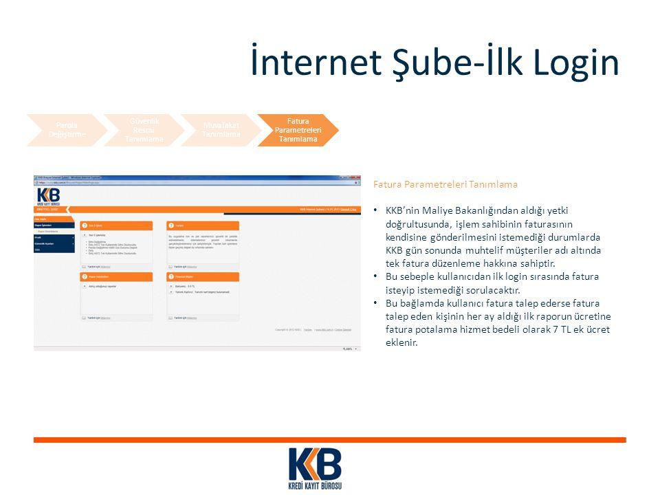 İnternet Şube-İlk Login Fatura Parametreleri Tanımlama KKB'nin Maliye Bakanlığından aldığı yetki doğrultusunda, işlem sahibinin faturasının kendisine