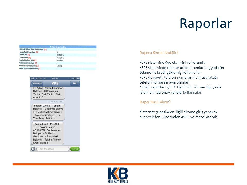 Raporlar Raporu Kimler Alabilir? ERS sistemine üye olan kişi ve kurumlar ERS sisteminde ödeme aracı tanımlanmış yada ön ödeme ile kredi yüklemiş kulla