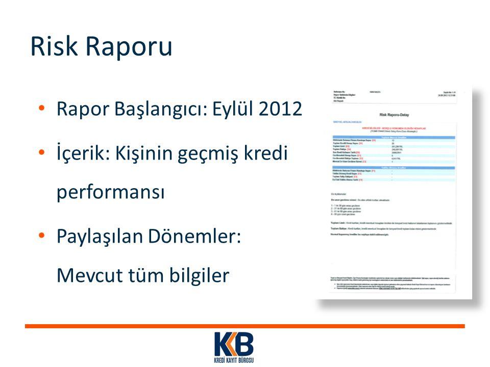 Risk Raporu Rapor Başlangıcı: Eylül 2012 İçerik: Kişinin geçmiş kredi performansı Paylaşılan Dönemler: Mevcut tüm bilgiler
