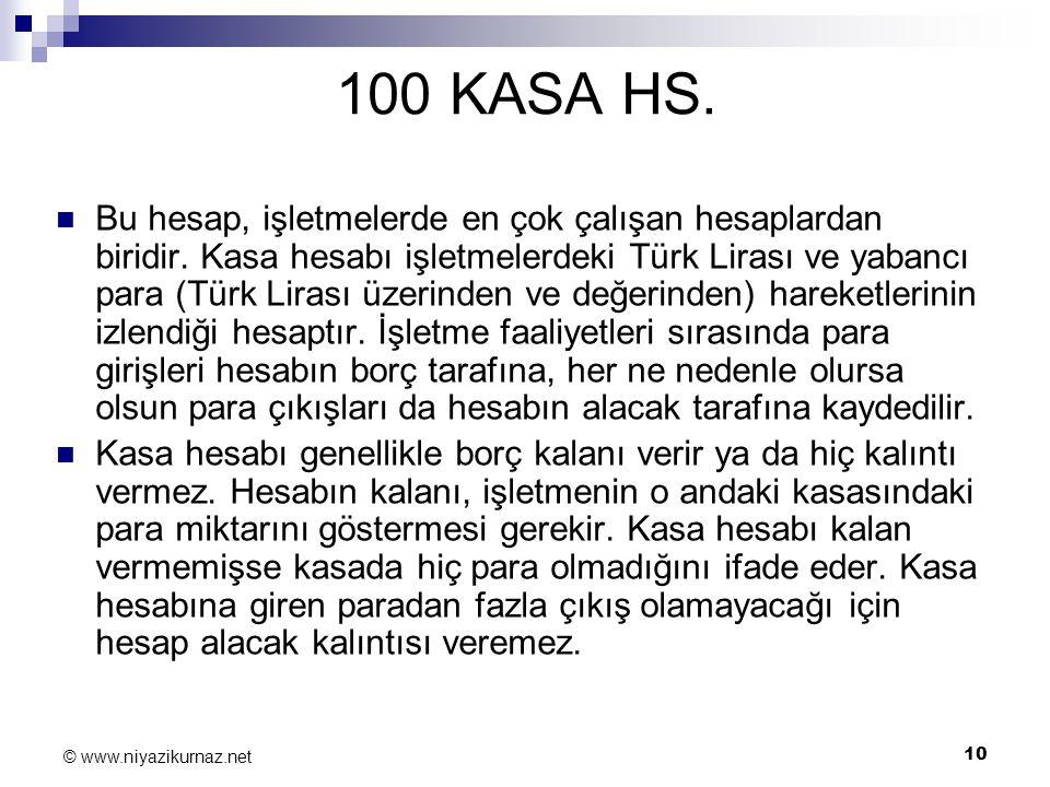 10 © www.niyazikurnaz.net 100 KASA HS. Bu hesap, işletmelerde en çok çalışan hesaplardan biridir. Kasa hesabı işletmelerdeki Türk Lirası ve yabancı pa