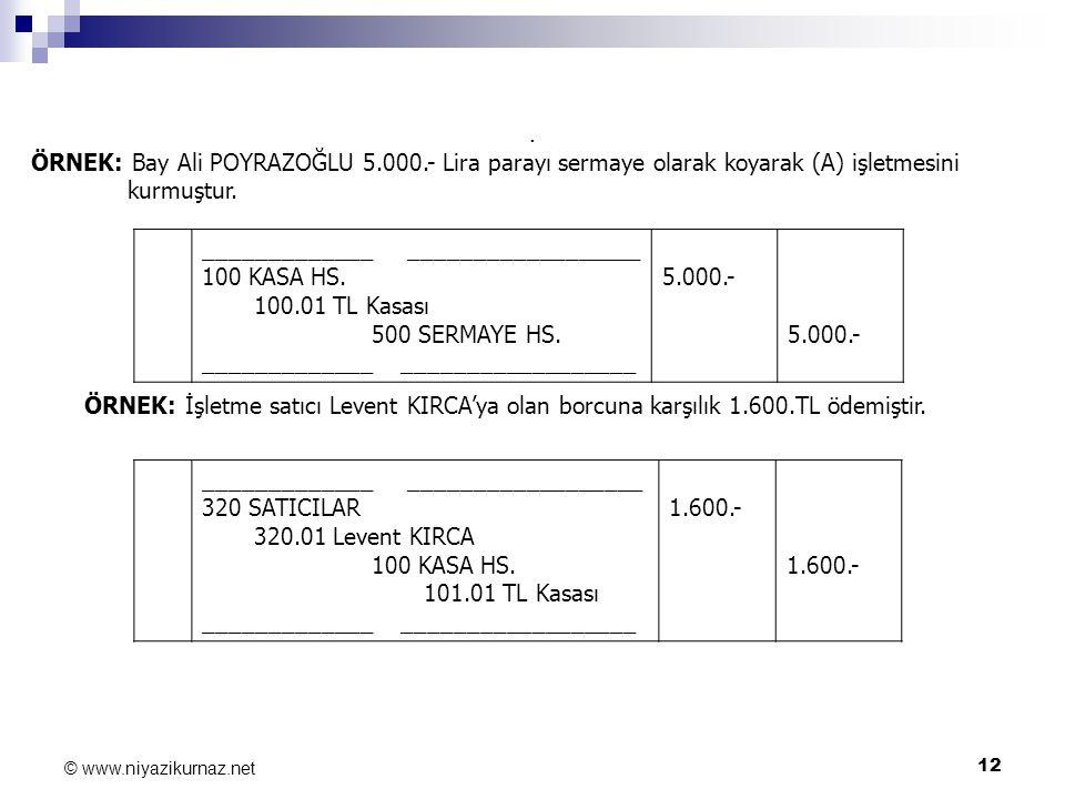 12 © www.niyazikurnaz.net. ÖRNEK: Bay Ali POYRAZOĞLU 5.000.- Lira parayı sermaye olarak koyarak (A) işletmesini kurmuştur. _____________ _____________