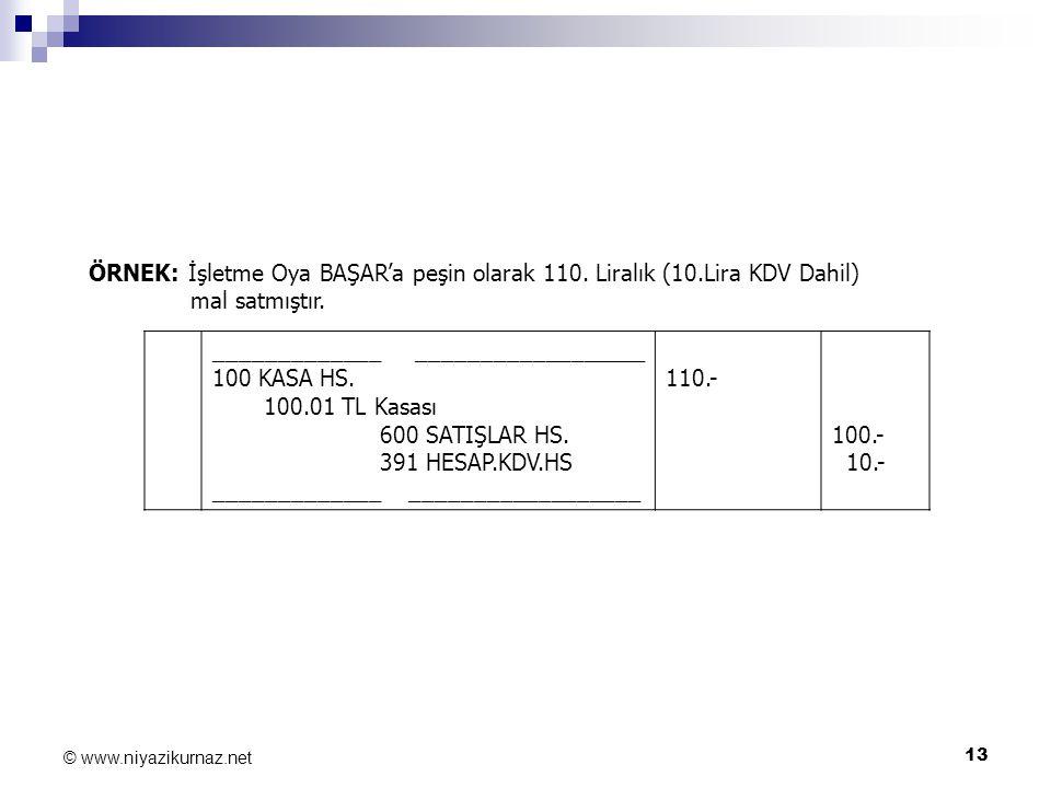 13 © www.niyazikurnaz.net ÖRNEK: İşletme Oya BAŞAR'a peşin olarak 110. Liralık (10.Lira KDV Dahil) mal satmıştır. _____________ __________________ 100