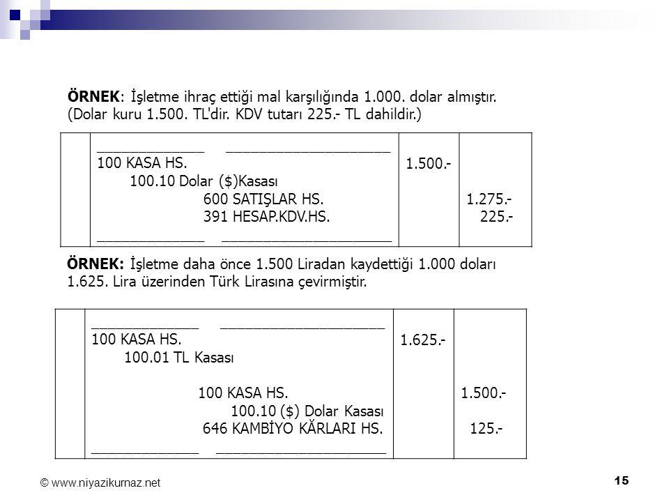 15 © www.niyazikurnaz.net ÖRNEK: İşletme ihraç ettiği mal karşılığında 1.000. dolar almıştır. (Dolar kuru 1.500. TL'dir. KDV tutarı 225.- TL dahildir.