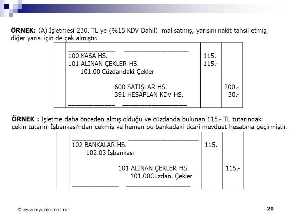 20 © www.niyazikurnaz.net ÖRNEK: (A) İşletmesi 230. TL ye (%15 KDV Dahil) mal satmış, yarısını nakit tahsil etmiş, diğer yarısı için de çek almıştır.