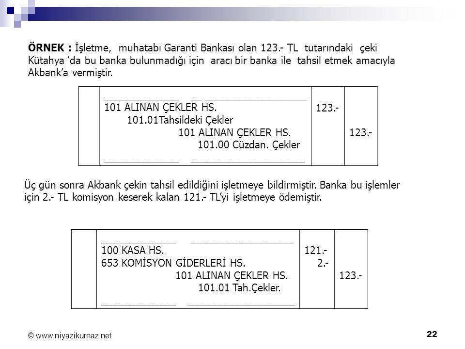 22 © www.niyazikurnaz.net ÖRNEK : İşletme, muhatabı Garanti Bankası olan 123.- TL tutarındaki çeki Kütahya 'da bu banka bulunmadığı için aracı bir ban