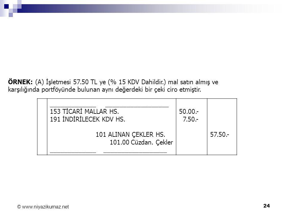 24 © www.niyazikurnaz.net ÖRNEK: (A) İşletmesi 57.50 TL ye (% 15 KDV Dahildir.) mal satın almış ve karşılığında portföyünde bulunan aynı değerdeki bir