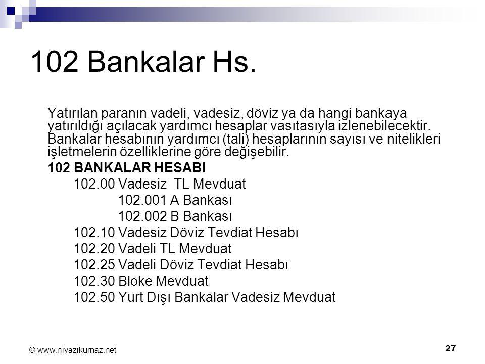 27 © www.niyazikurnaz.net 102 Bankalar Hs. Yatırılan paranın vadeli, vadesiz, döviz ya da hangi bankaya yatırıldığı açılacak yardımcı hesaplar vasıtas