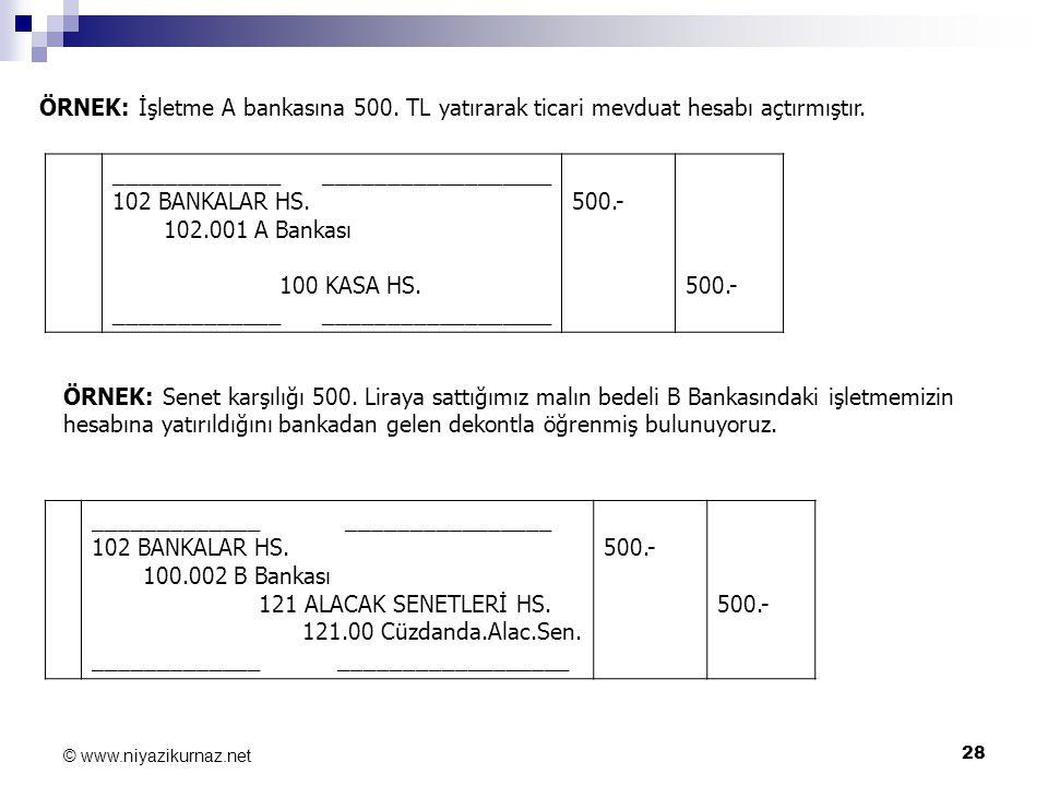 28 © www.niyazikurnaz.net ÖRNEK: İşletme A bankasına 500. TL yatırarak ticari mevduat hesabı açtırmıştır. _____________ __________________ 102 BANKALA