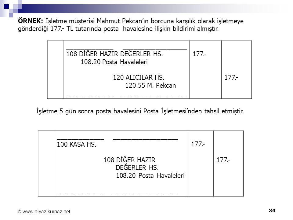 34 © www.niyazikurnaz.net ÖRNEK: İşletme müşterisi Mahmut Pekcan'ın borcuna karşılık olarak işletmeye gönderdiği 177.- TL tutarında posta havalesine i