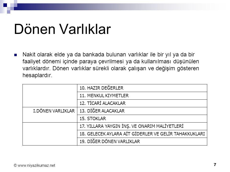 7 © www.niyazikurnaz.net Dönen Varlıklar Nakit olarak elde ya da bankada bulunan varlıklar ile bir yıl ya da bir faaliyet dönemi içinde paraya çevrilm