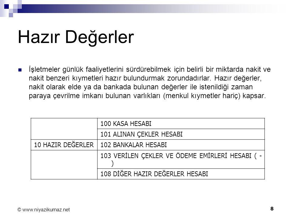 8 © www.niyazikurnaz.net Hazır Değerler İşletmeler günlük faaliyetlerini sürdürebilmek için belirli bir miktarda nakit ve nakit benzeri kıymetleri haz