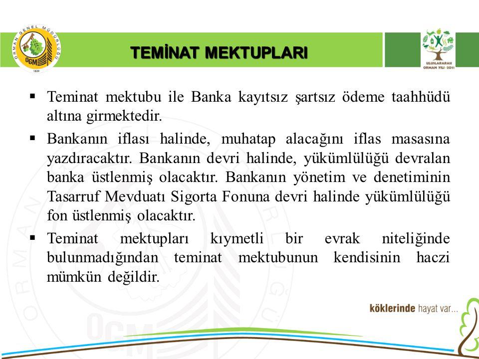 TEMİNAT MEKTUPLARI  Teminat mektubu ile Banka kayıtsız şartsız ödeme taahhüdü altına girmektedir.  Bankanın iflası halinde, muhatap alacağını iflas